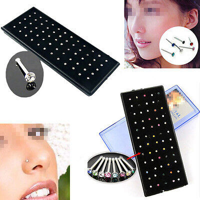 60pcs Crystal Rhinestone Nose Ring Stud Stainless Steel Body Piercing Jewelry