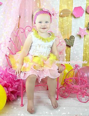 I m so Sparkly White Top Shirt Pink Gold Satin Trim Skirt Girls Outfit Set NB-8Y