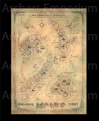New Zealand Map of Middle Earth, Version 2. Weta Collectables. LotR, Hobbit. New
