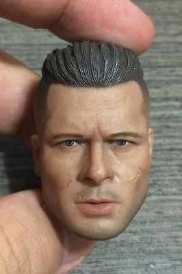 1//6 Brad Pitt Fury Wardaddy Custom Head Sculpt For Hot Toys Body USA SELLER