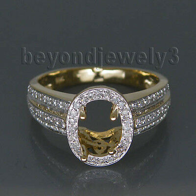 Oval Cut 5x7mm  Solid 14kt Yellow Gold Diamond Semi-Mount Engagement Ring RL0082