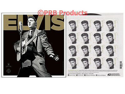 Elvis Presley USPS Forever Stamp Sheet of 16 Rock & Roll King Music Icon Collect