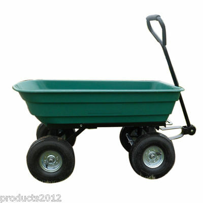 Garden Tipping Cart large 75 liters Dump Truck Wheelbarrow Sack Trolley Trailer