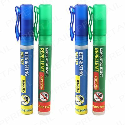 2x MOSQUITO REPELLENT & 2x BITE RELIEF SPRAY PEN LONG LASTING DEET Travel Insect