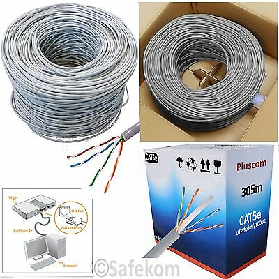 305M OUTDOOR RJ45 CAT5E Network Ethernet 4 Pair ADSL Roll Reel Box UTP CCA Cable