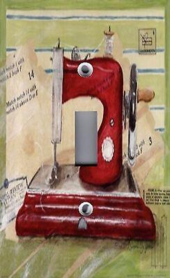 Light Switch Plate & Outlet Covers VINTAGE SEWING MACHINE IN STITCHES