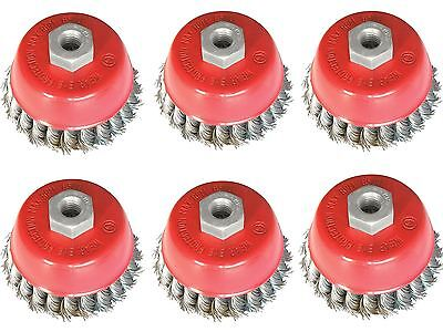 6pc 65MM TWIST KNOT WIRE WHEEL CUP BRUSH SET KIT FOR 115MM ANGLE GRINDER