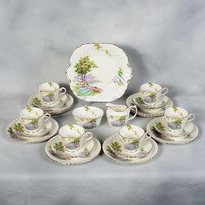 "Aynsley ""bluebell Time"" Luncheon Set - White Decorated With Country Scene"