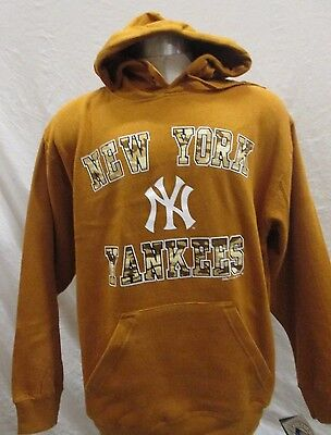 New York Yankees Men's S-2XL Pullover Hoodie Camo Logo MLB Stitches Tan