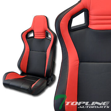 Mu Blk/red Pvc Leather Stitches Reclinable Racing Bucket Seats+Sliders Pair T12