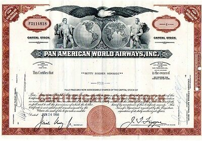 1968 PAN AMERICAN WORLD AIRWAYS Stock Certificate 4 Shares