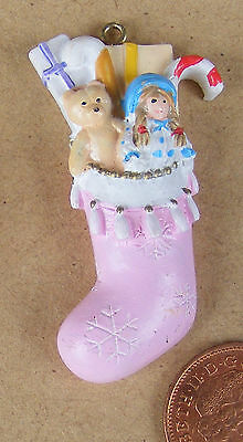 1:12 Scale Daughters Filled Resin Christmas Stocking Tumdee Dolls House Xmas