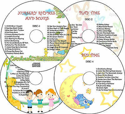 4 Cd Set- Children Nursery Rhymes & Songs/ Playtime/ Party Time/ Bedtime Stories