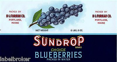 Tin Can Label Vintage Original 1930 Blueberry Blueberries Sundrop Portland Maine