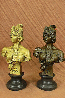 Rare 19th Century Production Female Victorian Bust Solid Bronze Pair of Bookends
