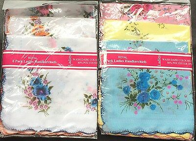 Ladies Hankies Pack of 6 , 2 different styles, 80%polyester/20%cotton