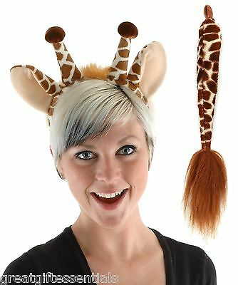 GIRAFFE COSTUME KIT SET Ears Tail Headband Adult Child Kids Brown Animal Safari