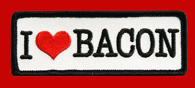 I LOVE BACON 4 inch Embroidered MC FUNNY BIKER PATCH