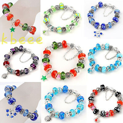 w/Cz Silver Murano Glass Crystal Elite European Love Dangle Beads Charm Bracelet