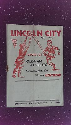 Lincoln City V Oldham Athletic 1949-50