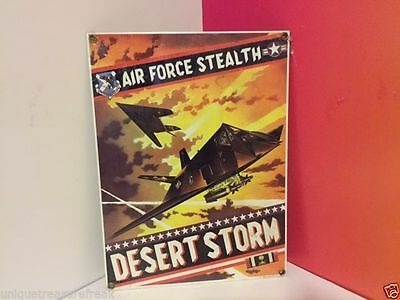 Ande Rooney Military Porcelain Adverstising Sign Desert Storm Air Force Stealth