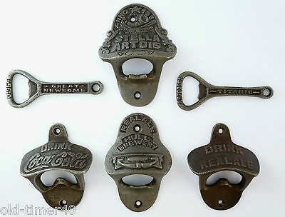 Cast Antique Iron Bottle Opener Wall Mounted & Keyring, With Screws CHOOSE TYPE
