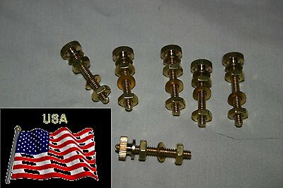 "6 Pure Solid Brass Binding post's 6/32 nuts, 1 1/8"" Long Rod"