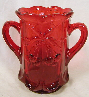Ruby Red Glass Cherry & Cable Pattern 2 Handled Spoonholder - Spooner
