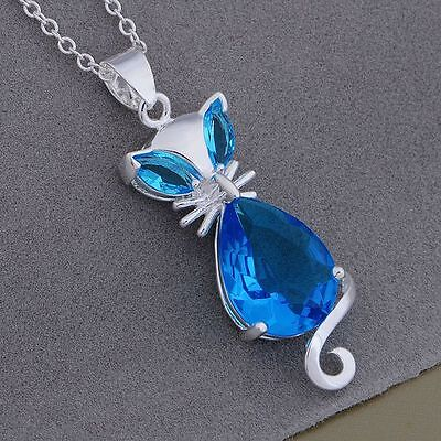 lady hot 925 Silver jewelry fashion women cat crystal charms cute necklace nice