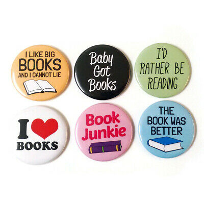 Book Lover Fridge Magnets Set 55mm 6pc Bookworm Book Club Gift Librarian
