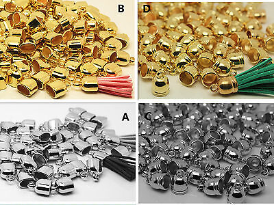 10/100pcs Silver/Gold Plated round & flat Clasps 8-10mm Tassel Accessories DIY