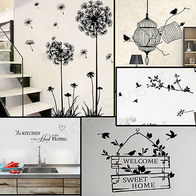 DIY Bird Tree Removable Vinyl Wall Decal Stickers Office Home room Decor Art UK