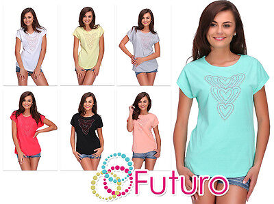 Ladies Top Sequined Hearts Short Sleeve 100% Cotton T-Shirt Size 8-14 FB275