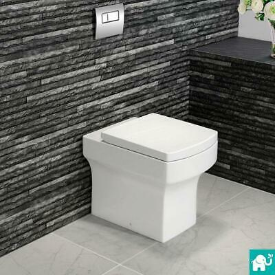 White Back To Wall Toilet Compact Bathroom WC & Luxury Soft Close Seat CT612BTW