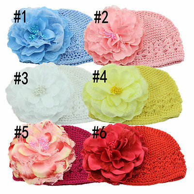 Baby Girl Beanie Kids Toddler Crochet Hats Cap Bonnet Peony Flowers Headdress