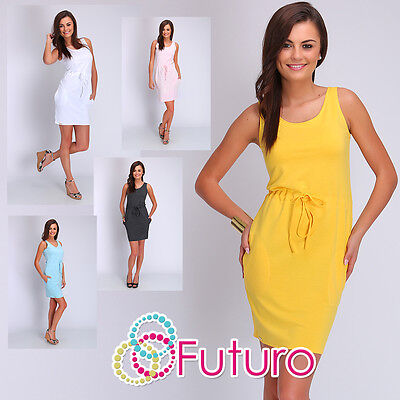 Womens Summer Dress With Pockets Sleeveless Scoop Neck Size 8 10 12 FA402