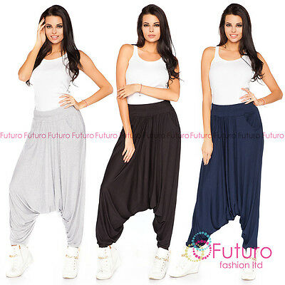 Womens Ali Baba Pants Harem Trousers Casual Boho Gypsy Size 8-16 FT1209
