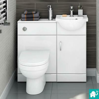 903mm Toilet and Sink Vanity Unit Bathroom Basin Furniture Gloss White HGW2411