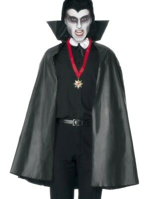 Vampire Cape Adults Fancy Dress Halloween Accessory Black PVC 114cm