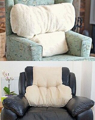 Large Faux Armchair Sheepskin Back Lumbar Support Pillow Cushion Soother Fleece