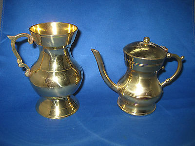 Lot of 2 Antique Made German Heavy Solid Brass Pitcher, Tea/Coffee Pot 1 LB, 2oz