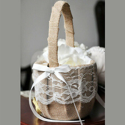 Vintage Rustic Wedding Ceremony Hessian Burlap And Lace Flower Girl Basket