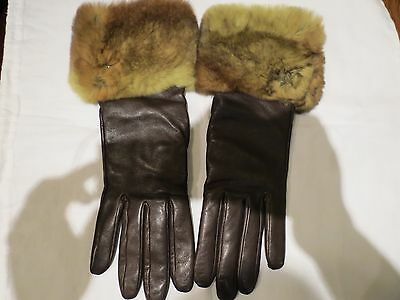 Nwot Womens Authentic Chanel Brown Leather Cashmere Fur Gloves Size 7.5