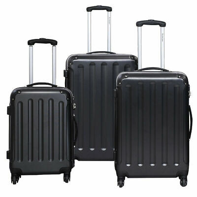 GLOBALWAY 3 Pcs Luggage Travel Set Bag ABS Trolley Suitcase Black