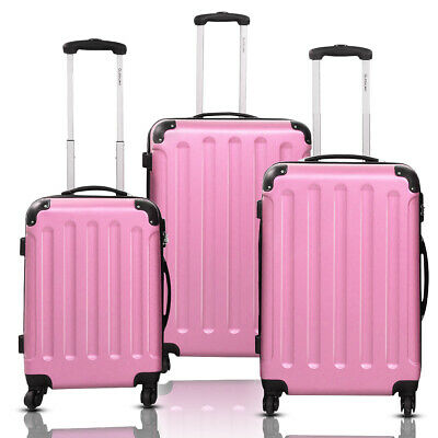 GLOBALWAY 3 Pcs Luggage Travel Set Bag ABS Trolley Suitcase Pink