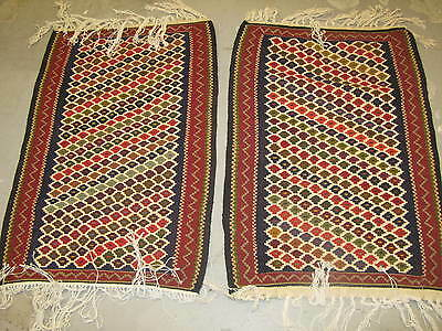 "Pair of 2 Vintage Persian Senneh Kilim Rug 20"" x 30"" Hand Knotted Wool Excellent"