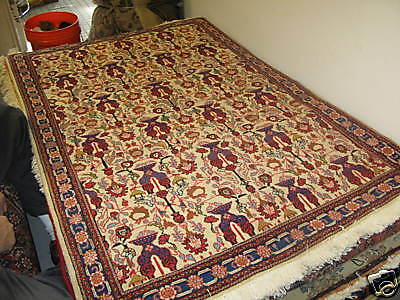 Vintage Persian Sarouk Rug Wool 3'-5x 5' Hand Knotted Very Fine