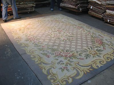 Vintage   Hand Made Hooked Rug Cotton  8'-9 x 11'-9 Made in Japan