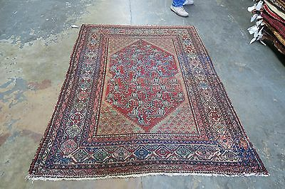 Antique Ferahan  Farahan Persian Rug 19th Century 4'3 x 6'-4 Hand Knotted Wool