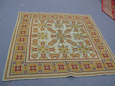 """Antique Hand Stitched English Needlepoint Tapestry Table Top Wool 57"""" x 57"""""""